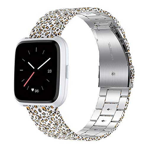 Wearlizer for Fitbit Versa Strap/Fitbit Versa 2 Strap, Stainless Steel Thin Replacement Straps Band for Fitbit Versa 2 / Lite Men Women Small Large (White Leopard)