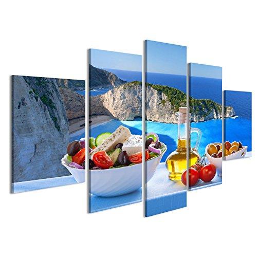 Bild Bilder auf Leinwand Berühmter Navagio Strand mit griechischem Salat in Zakynthos Griechenland Wandbild, Poster, Leinwandbild KPU