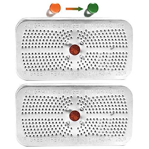 2Packs Indicating Silica Gel Dehumidifier Desiccant Canister, 40 Gram, Orange Indicating (Orange to Dark Green) Desiccant, Reusable and Safe Moisture Absorber Bag, No Cobalt II Chloride