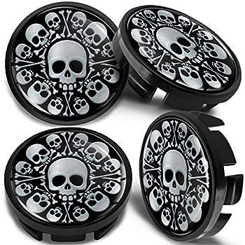 4 x Universal Wheel Centre Alloy Hub Center Caps Compatible with VW Part Number  3B7601171 Hubcaps Black Silver Skull Bones 65mm CV 10