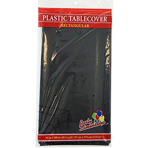 Party Dimensions Single Count Rectangular Plastic Tablecover, 54 by 108-Inch, Black, 2 Count