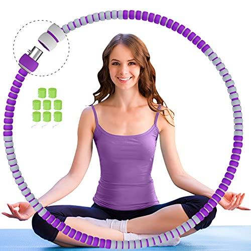 TTMOW Hula Reifen Hoop Erwachsene Anfänger, 8 Segmente Gymnastikreifen Hoop mit Gewicht, Stabiler edelstahlkern Cooles Aussehen, Sportgeräte Zuhause für Frauen & Männer