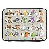 HGQHXY.U Hipster Tier Alphabet ABC Katze Elefant Fuchs Laptop Sleeve wasserdicht Neopren Tauchen...