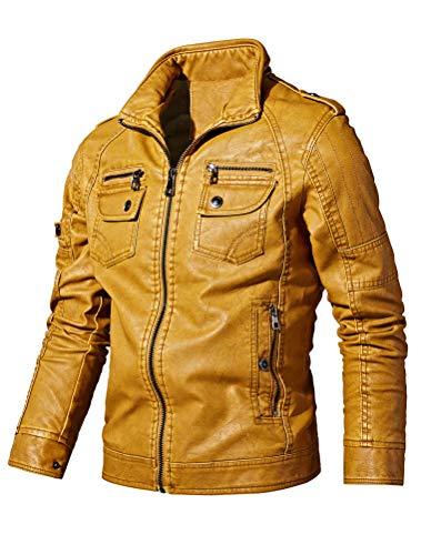 Mallimoda Uomo Giacca Motociclista Caldo Cappotto Biker Jacket Coat in Pelle Giallo XS
