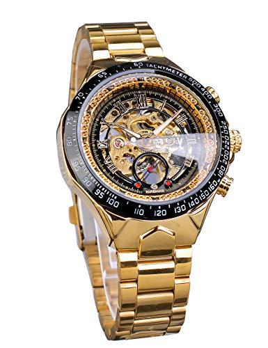 forsiningforsining–Funda de Oro automático mecánico Esqueleto Hombres de Acero Inoxidable Reloj de Pulsera