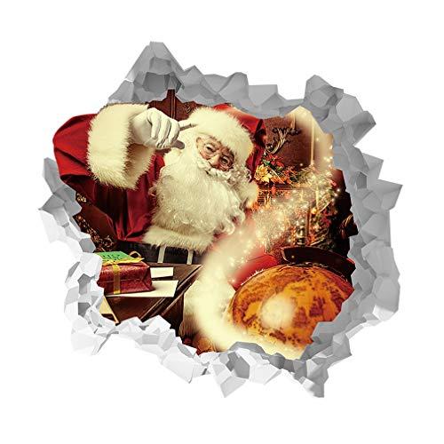 HehiFRlark 3D Santa Claus - Adhesivos decorativos para pared (impermeables, al agua, pared, decoración de PVC, material autoadhesivo