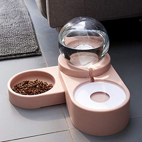 HAOCHI Diät Schale Hund Futter Schale,Bubble Automatische Nachfüllung,Double Bowl Trinkfeeder,Pet Food Trinkbecken Pink