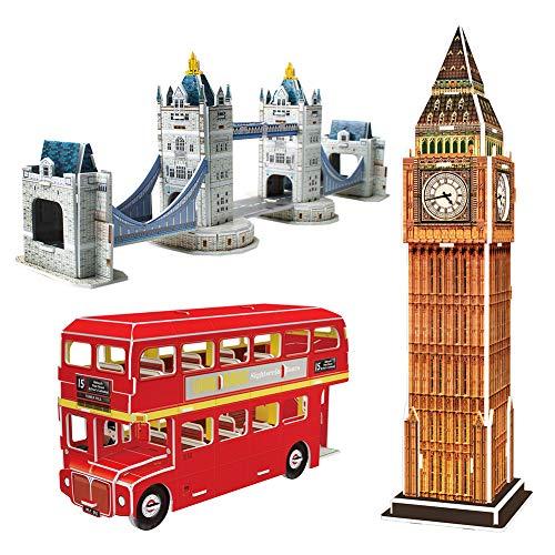 CubicFun Puzzle 3D UK Colección de Kits de Modelos Arquitectónicos de Londres Juguete, Big Ben, Tower Bridge y Autobús de Dos Pisos Juego de Regalo de Recuerdo 3 en 1 para niños y Amigos