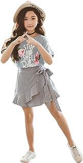 Hopscotch Girls Cotton Text Print Skirt Set in Blue Color