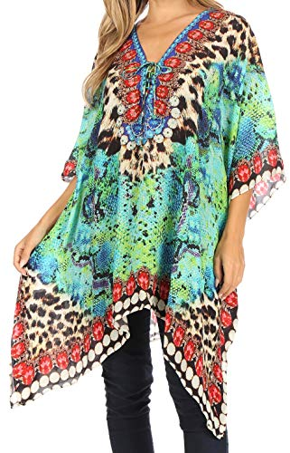 Sakkas 1825 - Aymee Women's Caftan Poncho Cover up V Neck Top Lace up with Rhinestone - ST49-Turq - OS