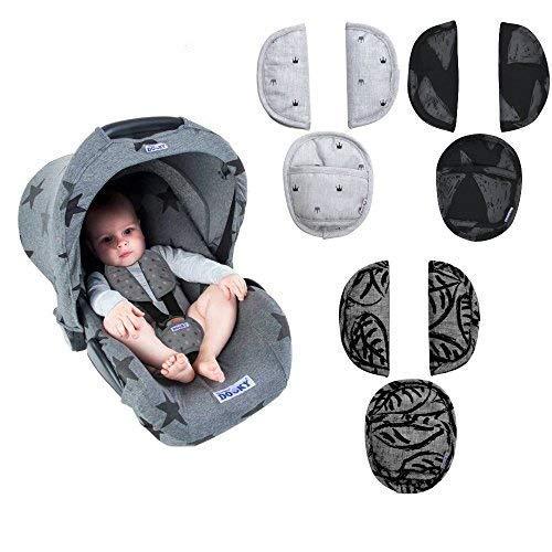 Dooky pads - Lot de 3 coussinets de protection rembourrés pour siège auto / poussette / buggy par exemple : Maxi Cosi, Cybex, Römer etc.