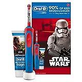 Oral-B Coffret cadeau avec personnages Star Wars comprenant une brosse à dents électrique et un dentifrice pour enfants à partir de 3 ans 90 % des enfants se brossent plus longtemps avec l'application Disney MagicTimer Élimine jusqu'à 100 % plus de p...