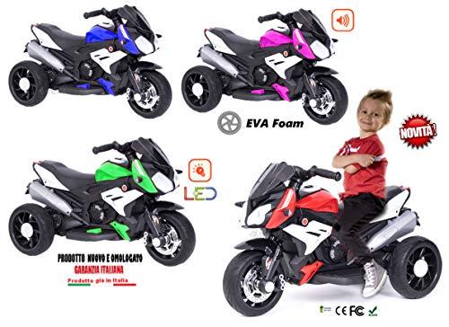 Moto Motocicletta Elettrica per Bambini 12V con luci LED e Suoni (Rosso)