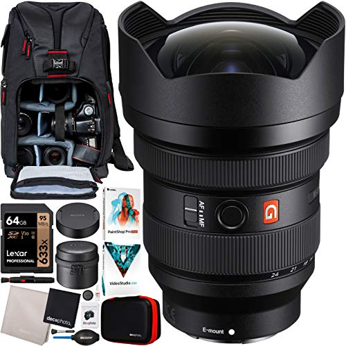 Sony FE 12-24mm F2.8 GM G Master Full Frame Ultra-Wide Zoom E-Mount Lens SEL1224GM for Mirrorless Cameras Bundle with Deco Gear Photography Sling Backpack + Photo Video Software Kit and Accessories