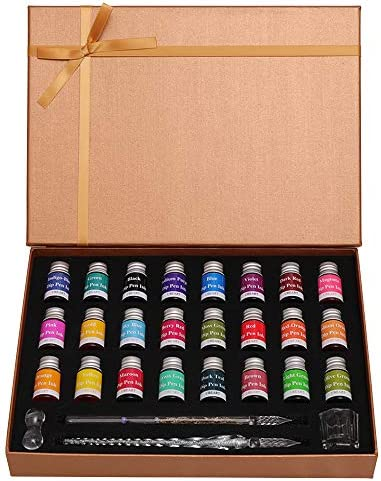UBEART Glass Dip Pen Ink set 28 Pieces Glass Calligraphy Set Includes 24 Colors Ink Cleaning product image