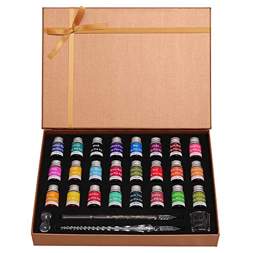 UBEART Glass Dip Pen Ink set,28 Pieces Glass Calligraphy Set Includes 24 Colors Ink Cleaning Cup Pen Holder 2 Crystal Glass Pens,Calligraphy Kit Ideas for Birthday Graduation Gifts Beginners,Gold Box