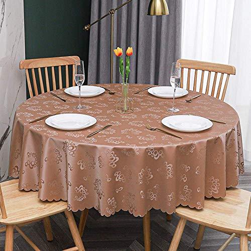 YWTT Mantel de PVC Mantel Hule Mantel Redondo Mantel Hule Mantel Mantel de Cera zarcillos Lavables Barroco arabesco-marrón 160 cm / 62,99 in