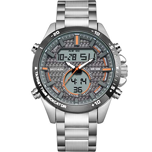 Herrenuhr aus Edelstahl mit Doppelzeitanzeige, 50 m wasserdichte Digitale Armbanduhr mit Schwimmquarz für Junge Männer, multifunktionales, benutzerfreundliches, leuchtendes Freizeitkleid