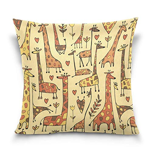 N\A Double Sided Cartoon Funny Giraffes and Hearts Flower Floral Cotton Velvet Square Cover Cushion Covers Pillow Slip Covers Decorative
