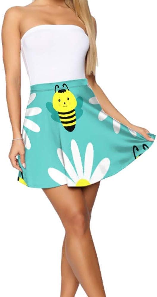 Women Flare Skirt Bee Hardworking Double Wings Insect Mini Skater Skirt for Girls Women's Basic Casual Flare Skirts for Girls S-XL