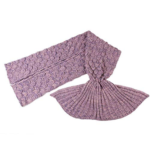 Warm und weich Meerjungfrau Schwanz Decke von aiqi, Handwerk Crochet Snuggle Cozy Fleece Sofa Bett Schlafsäcke, ideal Geschenke für Familienmitglieder oder Freunde, Pale Pinkish Purple, M by aiqi
