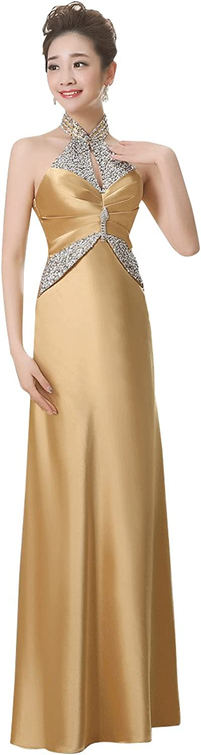 BeautyEmily Halter Backless Sequins Satin Rhinestone Evening Dress