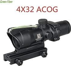 Laecabv 4X32 ACOG Real Green Fiber Illuminated Scope BDC Chevron Horseshoe Reticle Tactical Optical Sights