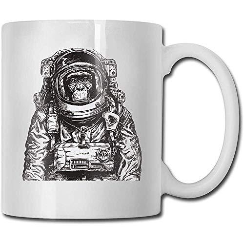 Monkey Astronaut Taza de cerámica Taza Tazas Taza de viaje de cerámica Taza de té 330ml (Blanco)