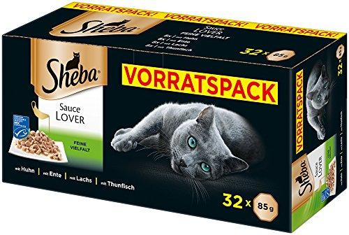 Sheba Sauce Lover – Feine Häppchen in Sauce für ausgewachsene Katzen – Alleinfuttermittel in der – 32 Schalen (32 x 85g)