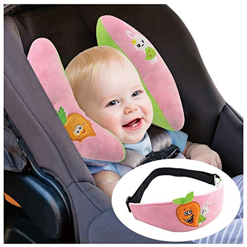 Baby Schlafkissen Nackenstützen - Baby Kissen für Autositz Kleinkind Nackenschutz Gürtel, Rosa