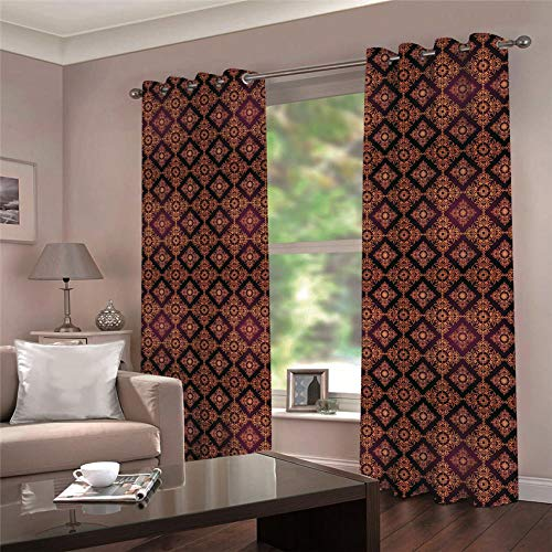 ARTEZXX Blackout Curtains 3D Red Vintage Pattern Waterproof Mildew Resistant Polyester Fabric Curtains Thermal Insulated Window Curtains For Living Room Office Bedroom (2 Panel) 2 x 55.11' x 98.42'
