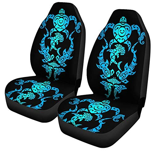 UNICEU Turquoise Blue Sea Turtle Polynesian Tribal Hawaiian Car Seat Covers Front Seat Only,Compatible Bucket Seat Covers Car Accessories Universal Fit for Most Cars SUV Truck