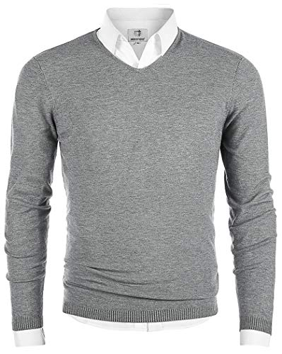MOCOTONO Men's V-Neck Long Sleeve Pullover Casual Sweater Light Gray X-Large