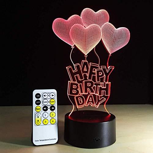 QB Nachtlamp, 3D illusie cartoon, LED touch illusie licht, Gelukkige Verjaardag Gift Liefde Ballonnen 3D Lamp LED Licht Acryl Nachtlamp met