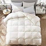 APSMILE Luxury 100% Organic Cotton All Season Goose Down Comforter Twin Size Duvet Insert, 650 Fill Power 33 Oz Medium Warmth Hypoallergenic, Beige White