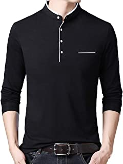 Men's Henley T-Shirts Casual Slim Fit Long Sleeve Blouse Fashion Standing Collar T-Shirts