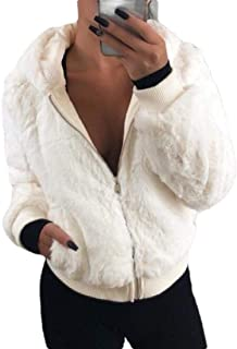 Women's Zip Basic Hooded Fluffy Coat Overcoat Warm Jackets