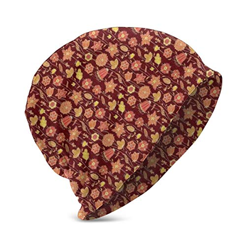 SJuczi Beanie Cap for Boy Girl,Soft Warm Kids Knit Fiery Flowers Abstract Design of Dahlia Poppy Butterfly Dragonfly and Caterpillar