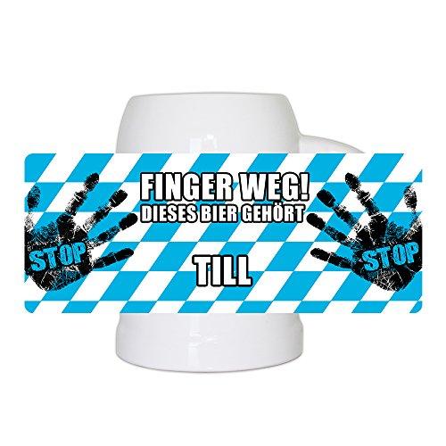 Lustiger Bierkrug mit Namen Till und schönem Motiv Finger weg! Dieses Bier gehört Till | Bier-Humpen | Bier-Seidel