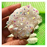 Wixine 1Pcs White Angel Aura Quartz Point Electroplated Crystal Cluster Healing Stone