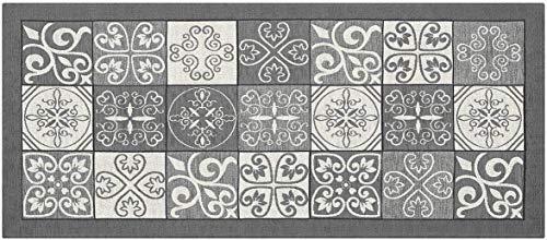 HomeLife Tappeto Cucina Antimacchia e Antiscivolo 55X80 Made in Italy | Passatoia Moderna con Disegno Maiolica Lavabile | Tappeto Runner Lungo Colorato [55X80, Grigio]
