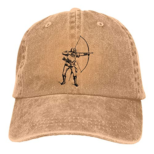 CVDGSAD Nueva Gorra de béisbol de Sarga Lavada para Hombres con Arco Natural, Tiro al Arco, Denim, Ajustable