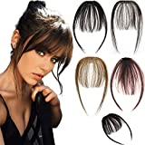 SLLIE 2PCS Clip in Bangs Hair Extensions Human Hair Air Bangs with Temples One Piece Clip on Front Bangs Hairpiece 100% Human Real Hair Fringe