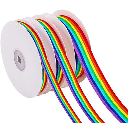 Whaline Cinta Arco Iris, 60 Yardas/55 Metros Cintas de Doble Cara a Rayas Arcoíris para Envolver Regalos, Fiesta Decoración, Orgullo Gay LGBT, DIY Manualidades Hechas a Mano(10mm, 15mm, 25mm de ancho)