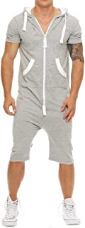 Mikely store Men Jumpsuit, Men Hooded Jumpsuit Slim Pocket Romper Sport Jogging Tracksuit Playsuit