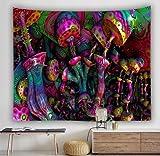 N / A Tapiz de Pared de decoración Bohemia para el hogar Que cuelga una Enorme casa de Setas Tapiz psicodélico del país de Las Hadas A6 95x73cm