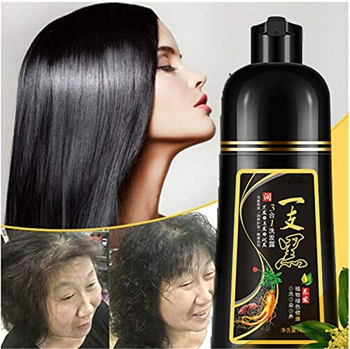 Soudream 500ml Natural 10 Mins Herbal Hair Darkening Shampoo, Black Hair Dye Shampoo 3 in 1, Instant Herbal Hair Colouring Shampoo, Hair Darkening Shampoo Permanent Coloring
