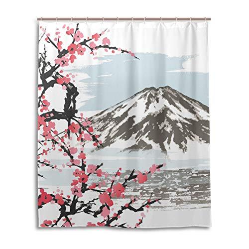 JSTEL Decor Mountain Fuji Rideau de Douche en Tissu 100% Polyester Motif Fleurs de Cerisier 152 x 183 cm