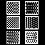 6 Set Geometric Stencils 7 x 7 Inch - Art Painting Templates for Scrapbooking Drawing Tracing DIY Furniture Wall Floor Décor