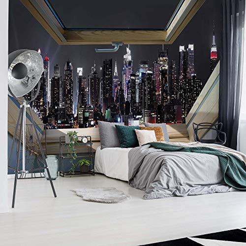 New York Skyline Der Stadt In Der Nacht 3D-Dachfenster-Ansicht Vlies Fototapete Fotomural - Wandbild - Tapete - 312cm x 219cm / 3 Teilig - Gedrückt auf 130gsm Vlies - 10417VEXXL - New York